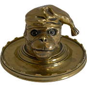 Antique English Figural Inkwell - Monkey With Glass Eyes c.1880