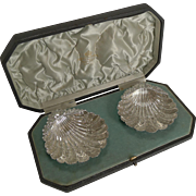 Magnificent Cased Pair English Sterling Silver Shell Dishes - 1893