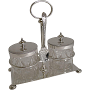 Antique English Cut Crystal and Silver Plate Double Preserve Jars on Stand c.1900