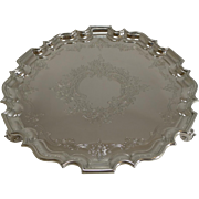 Smart Antique English Silver Plate Salver / Tray c.1860