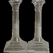 Classic Pair Silver Plate Corinthian Column Candlesticks by Elkington - 1929