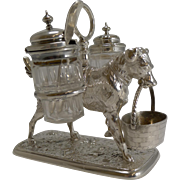 Antique English Novelty / Figural Dog Cruet In Silver Plate - 1871