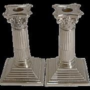 Pair Antique English Silver Plated Candlesticks - Corinthian Columns