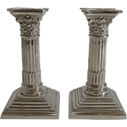 Petite Pair Antique English Corinthian Column Candlesticks c.1900 - Silver Plate