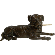 Handsome Large Bullmastiff Triple Inkwell c.1900 - Dog
