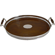 Antique English Oak and Silver Plated Serving Tray c.1890