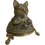 Very Rare Cold Painted Bronze Novelty Mechanical Bell - Cat and Mouse c.1900