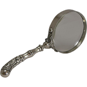 Antique English Sterling Silver Handled Magnifying Glass - 1906