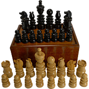 Antique English Regency Style Chess Set In Wooden Case c.1900