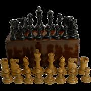 Antique English Boxwood Chess Set With Storage Box c.1910