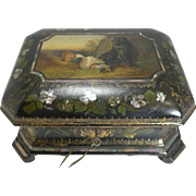 Exquisite Jennens & Bettridge Jewelry Box c.1850 - Girl and Dog Painting