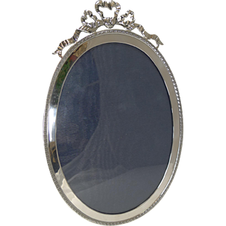 Large Antique English Sterling Silver Photograph Frame - Ribbon and Bow