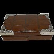 Antique English Sterling Silver Mounted Crocodile / Alligator Jewelry Box