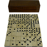 Antique English Boxed Set Bone & Ebony Wood Dominoes c.1890