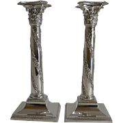 Pair Antique Scottish Silver Plated Candlesticks - Sorley Glasgow c.1890