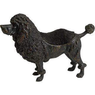 Handsome Antique Cold Painted Bronze Pen Nib Wipe c.1890 - Dog - Poodle