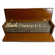 Antique English Boxed Set Bone & Ebony Wood Double Nines Dominoes c.1890