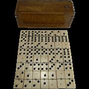 Antique English Boxed Set Bone & Ebony Wood Dominoes c.1890