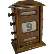 Small Antique English Oak Perpetual Desk Calendar c.1900