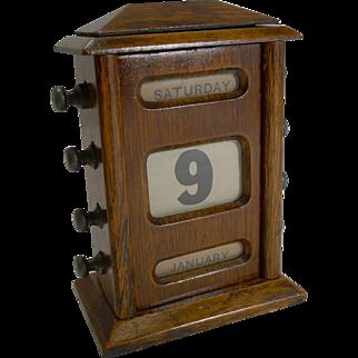 Small Antique English Oak Perpetual Desk Calendar c.1900