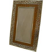 Antique Polished Bronze and Crocodile / Alligator Photograph Frame c.1880