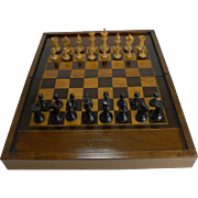 Antique English Folding Chess / Games Box With Chess Set c.1910