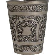 Handsome Antique Anglo-Indian Sterling Silver Beaker c.1890