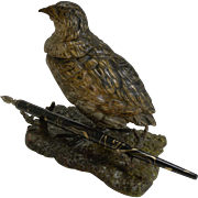 Antique Cold Painted Bronze Game Bird Inkwell c.1900