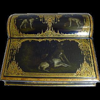 Exquisite Antique English Hand Painted Papier Mache Writing Box / Lap Desk c.1850 - Dogs