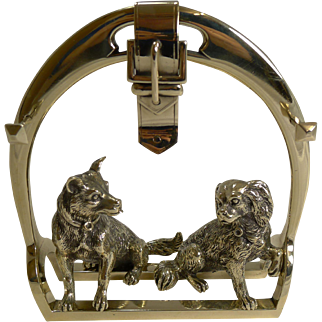 Antique English Novelty Pen Rest - Equestrian and Dogs c.1880