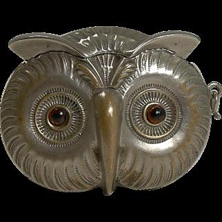 Antique English Figural Vesta / Match Strike - Owl With Glass Eyes c.1890