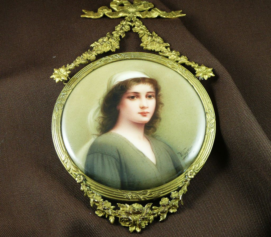 Victorian Hand Painted German Porcelain Plaque of Ruth - by Wagner