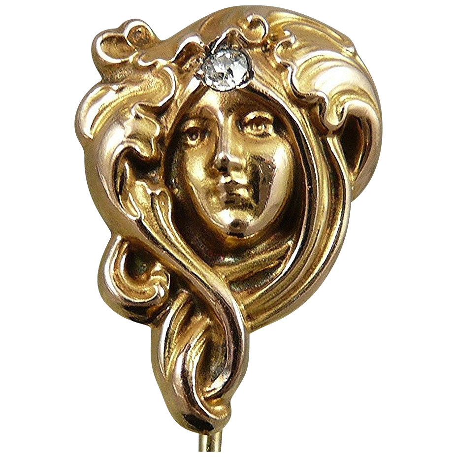 Antique 10K Gold Stick Pin, Art Nouveau Lady