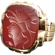 Vintage 10K Gold Carnelian Intaglio Ring, Art Deco, Unisex