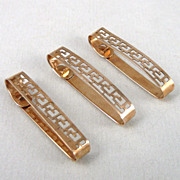 Vintage 10K Gold Lingerie Clips, Art Deco Set of 3