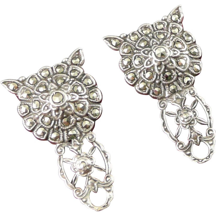 Vintage Sterling Marcasite Dress Clips, Art Deco