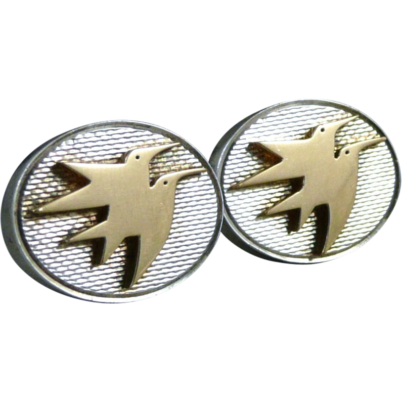 Vintage Gold And Sterling Bird Cufflinks, London 18ct