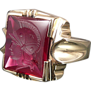 Vintage 10K Gold Ruby Intaglio Ring, Art Deco