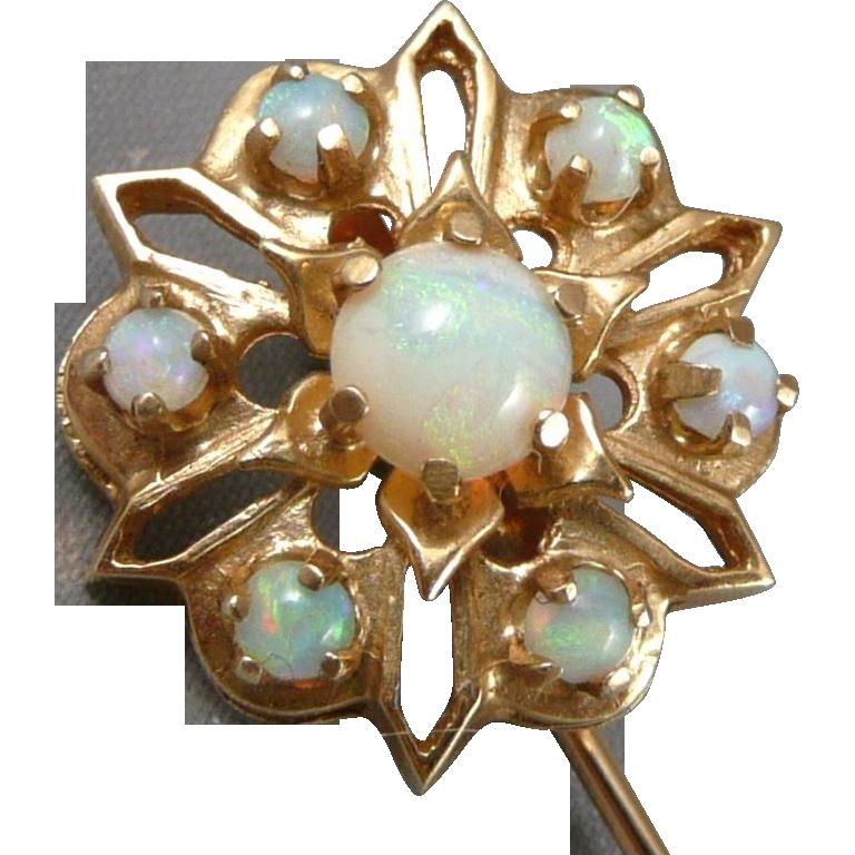 Vintage 14K Gold Opal Stickpin Stick Pin