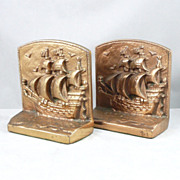 Vintage Ship Bookends Heavy, Pirate Clipper Sailing