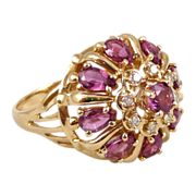 14K Gold Ruby Diamond Princess Ring, Vintage Franklin Mint 'Nine Heavens'