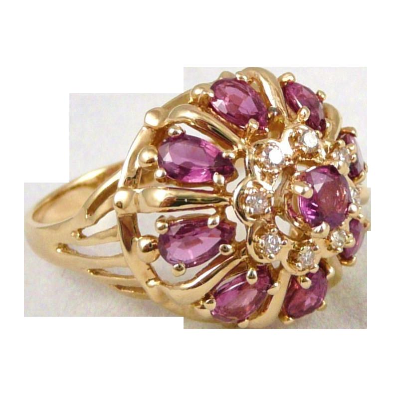 Gold Ruby Diamond Harem Cluster Ring, Vintage 14K Franklin Mint 'Nine Heavens'