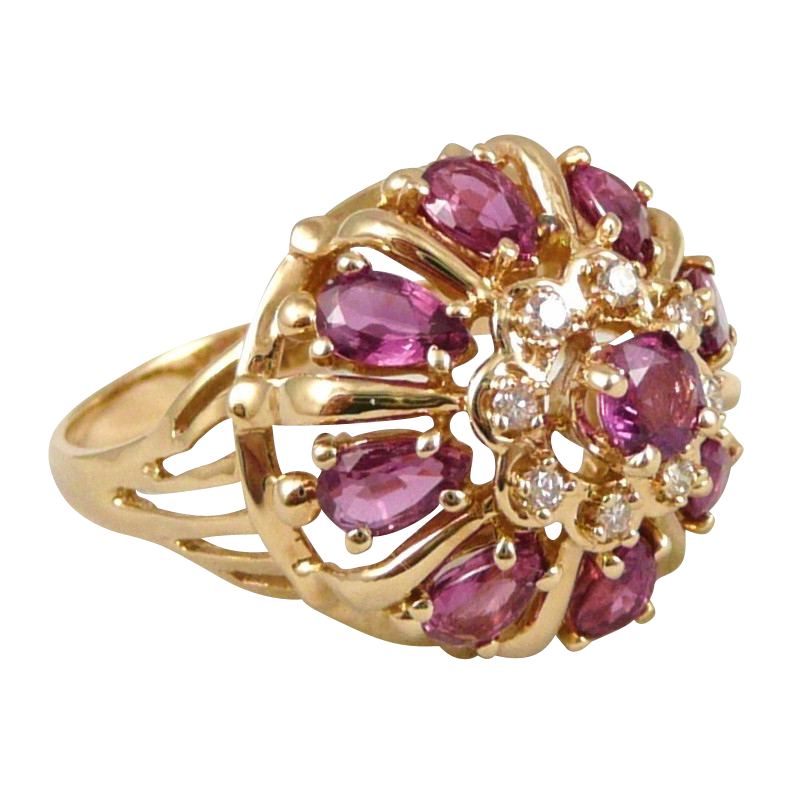 14K Gold Ruby Diamond Princess Ring, Vintage Franklin Mint 'Nine Heavens'