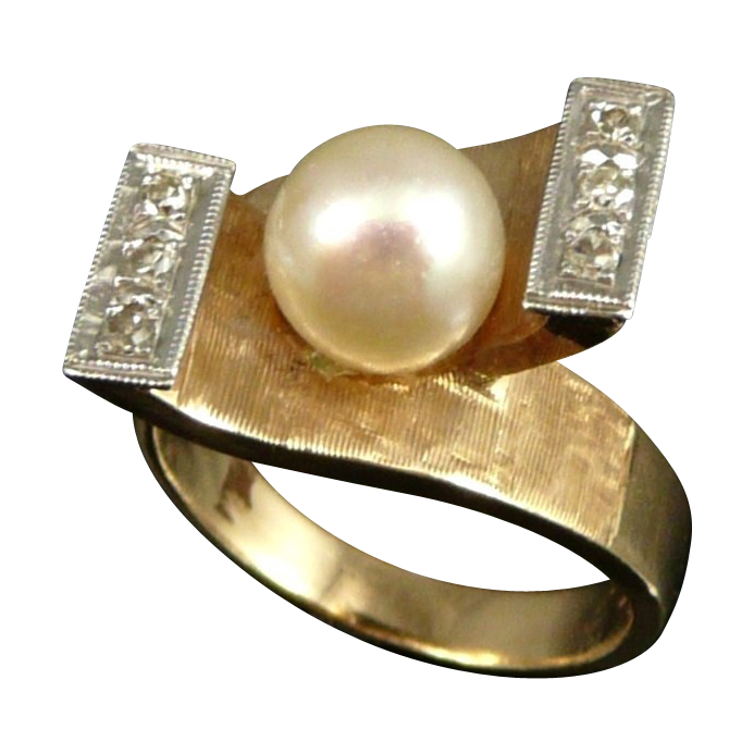 Vintage14K Gold Retro Pearl Diamond Ring