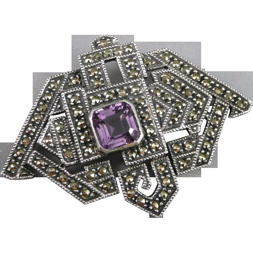 Vintage Sterling Marcasite Amethyst Brooch Pin By Judith Jack