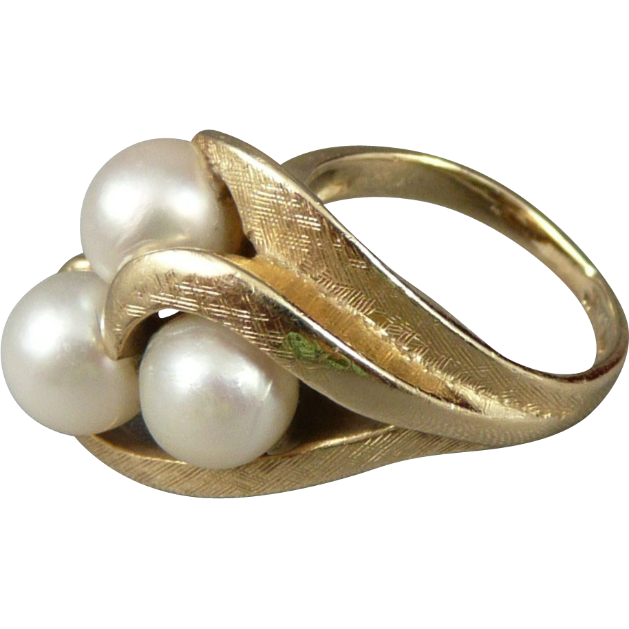 Vintage 14K Gold Asymmetrical Pearl Ring