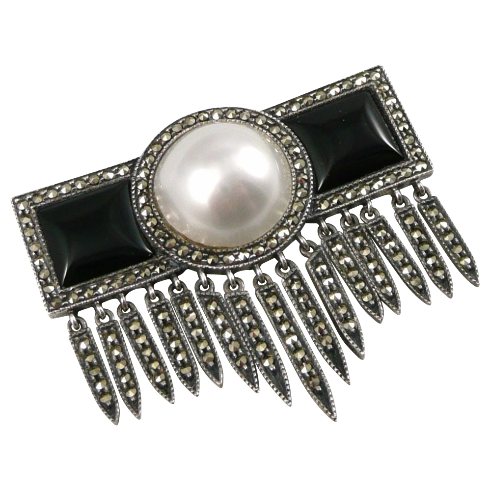 Vintage Sterling Marcasite Onyx and Faux Pearl Brooch Pin By Judith Jack