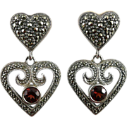 Vintage Sterling Garnet Marcasite Heart Earrings By Judith Jack