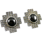 Sterling Onyx Marcasite Earrings, Judith Jack Vintage