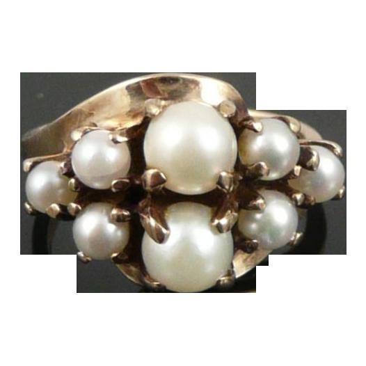 Vintage 10K Gold Pearl Cluster Ring